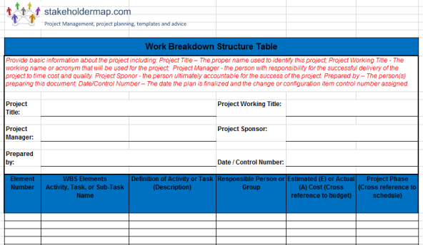 product breakdown structure excel template - work breakdown structure wbs excel template free