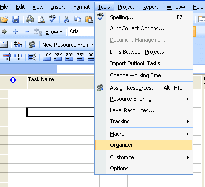 MS Project - tools and organizer