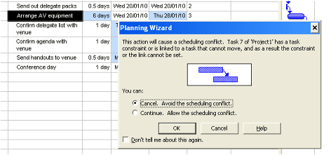 Project Scheduling Conflict warning