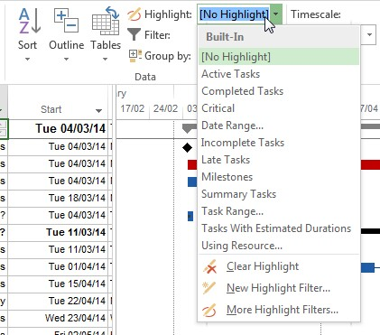 Highlighting Tasks In Ms Project