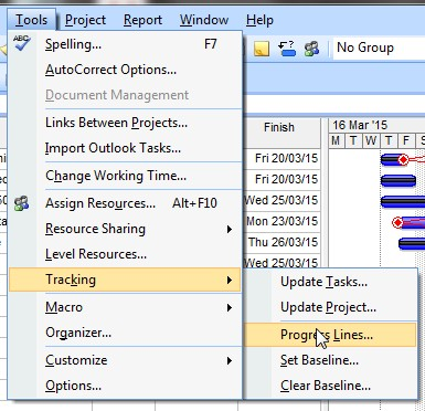 MS Project progress | How to show progess lines [step by step]