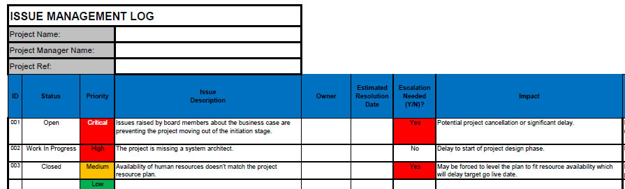 Issue Log | Free Project Issue Log Template In Excel