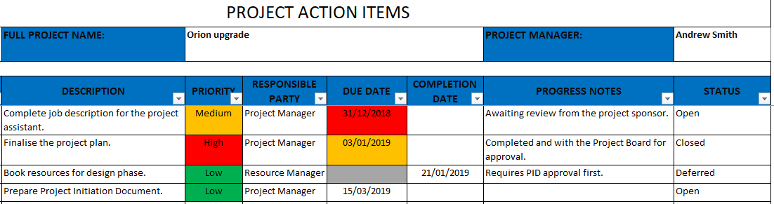 Project Actions Template Excel Template Free Download