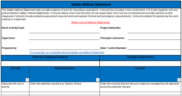 Good Safety Method Statement Inside Method Statements Template