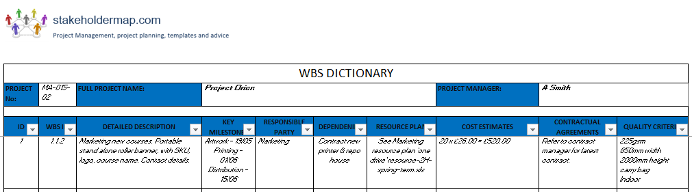 WBS Dictionary Template | FREE Download