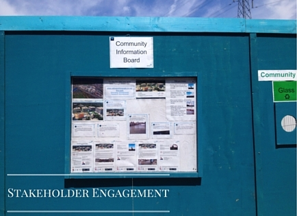 one stakeholder enagement approach - community notice board on construction site hoarding